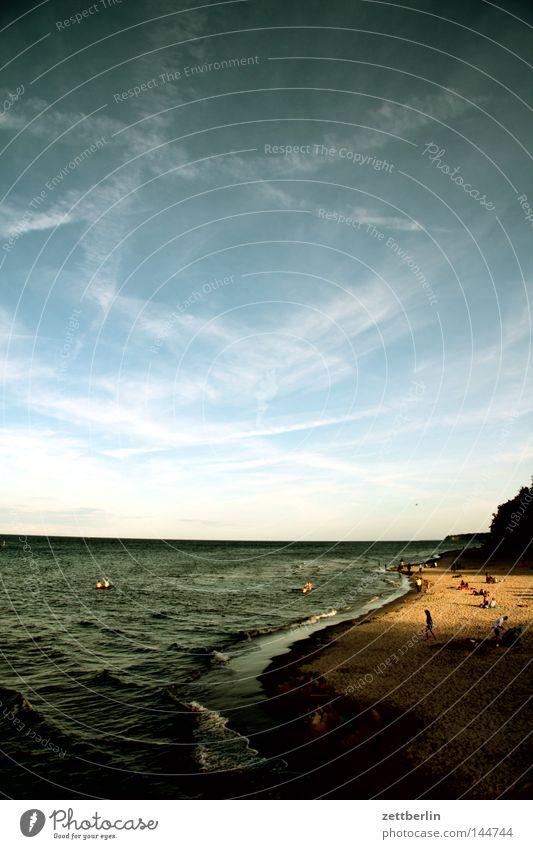 Sellin/Rügen Ostsee Meer Strand Sand Wasser Wellen Küste Sandstrand Mecklenburg-Vorpommern Himmel Wolken Cirrus Ferien & Urlaub & Reisen Tourismus Horizont