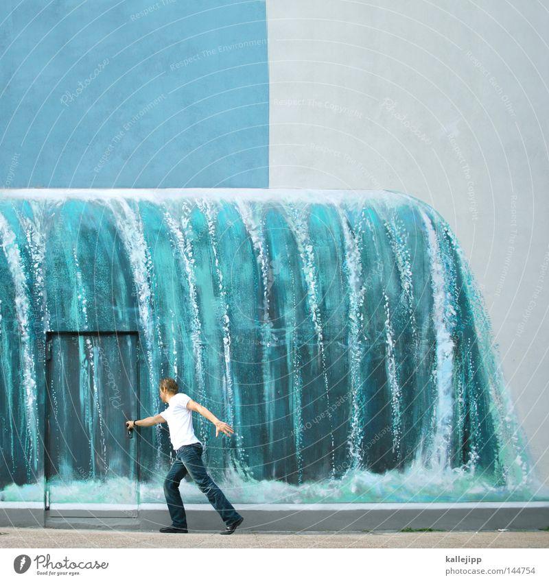 watergate Tür Autotür Eingang Wasserfall Wiedervereinigung Tor Spitzel Türspion Wand Mann Mensch Güterverkehr & Logistik Karriere Überraschung Neugier Suche