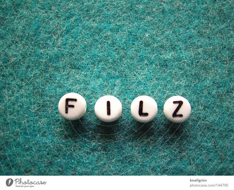 FILZ weiß schwarz rund Schriftzeichen Buchstaben obskur türkis Perle Wort Material Filz