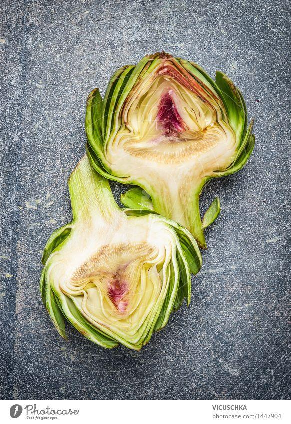 Zwei Hälften von Artischocke Lebensmittel Gemüse Ernährung Bioprodukte Vegetarische Ernährung Diät Lifestyle Stil Design Gesunde Ernährung Natur Essen
