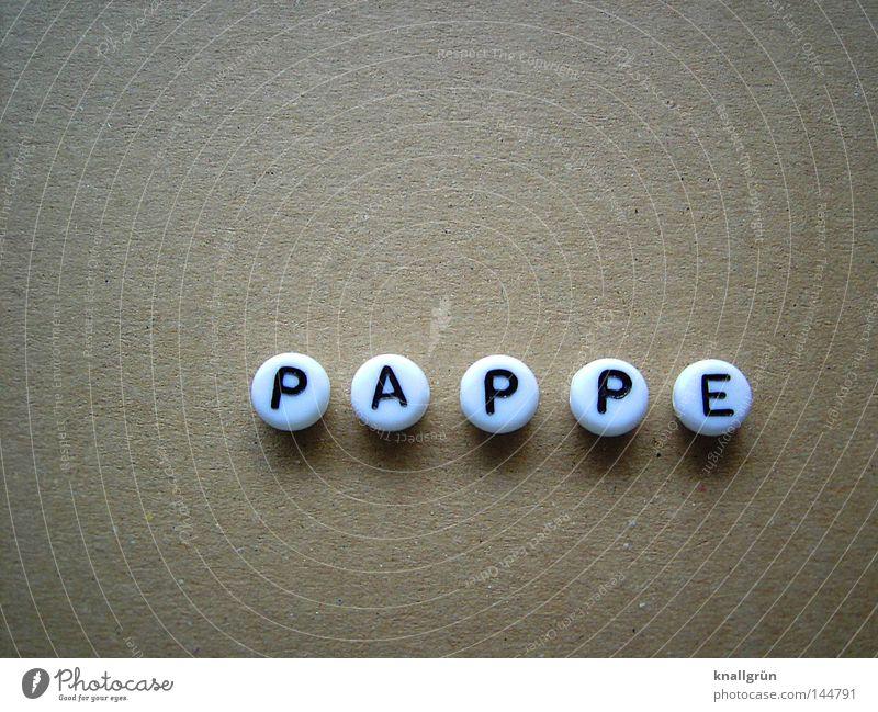 PAPPE weiß schwarz braun Papier rund Schriftzeichen Buchstaben obskur Perle Wort Karton Material