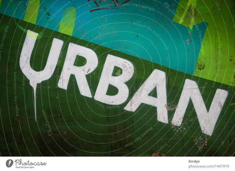 Urban Mauer Wand Zeichen Schriftzeichen Graffiti Originalität positiv trashig Stadt grün türkis weiß Gesellschaft (Soziologie) Kultur Häusliches Leben Farbfoto