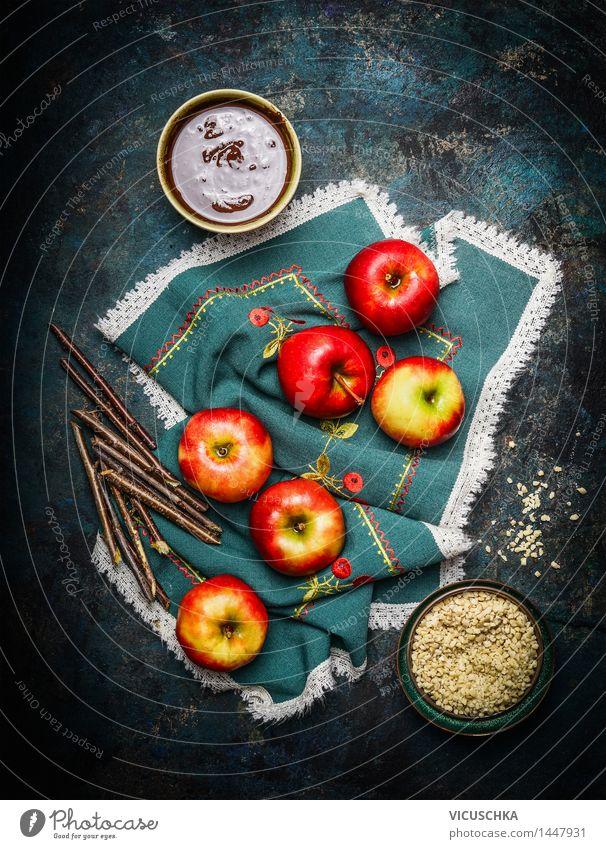 Schokoäpfel machen Weihnachten & Advent rot Freude gelb Stil Feste & Feiern Lebensmittel Party Frucht Design Ernährung Tisch süß Küche Zweig Süßwaren