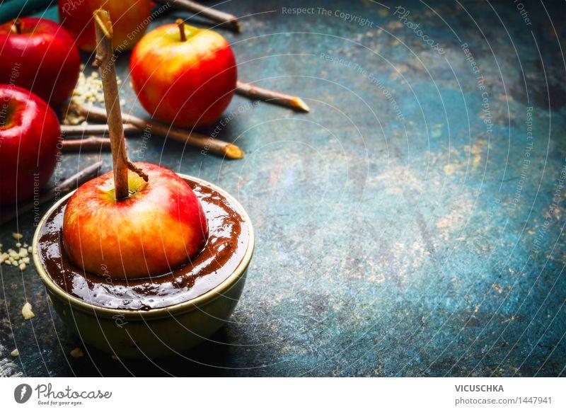 Schokoäpfel selber machen. Gesunde Ernährung Leben Stil Feste & Feiern Lebensmittel Design Tisch Küche Stengel Apfel Tradition Schalen & Schüsseln Schokolade