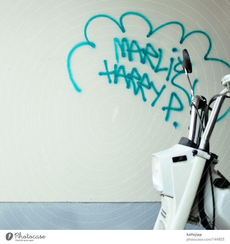 gedankenblasen die rasen ruhig Design Verkehr Lifestyle Industrie Gesäß Müll KFZ Motorrad Comic Reifen Parkplatz Lager Kleinmotorrad Adjektive laut