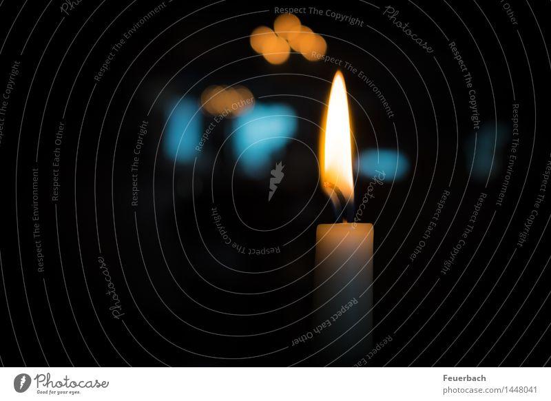 by candlelight Abendessen Festessen ruhig Meditation Weihnachten & Advent Feuer Kerze elegant Glück Wärme blau orange weiß Gefühle Stimmung Zufriedenheit