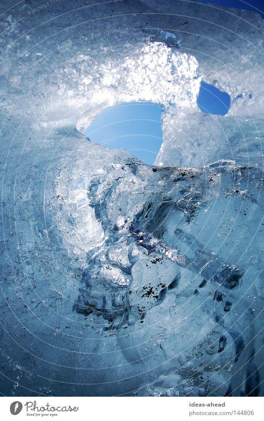 Ice of Iceland Sonne blau Winter kalt Eis gefroren Loch Island Schnellzug Grundbesitz Verlauf Eisenbahn Eisscholle Jökulsárlón