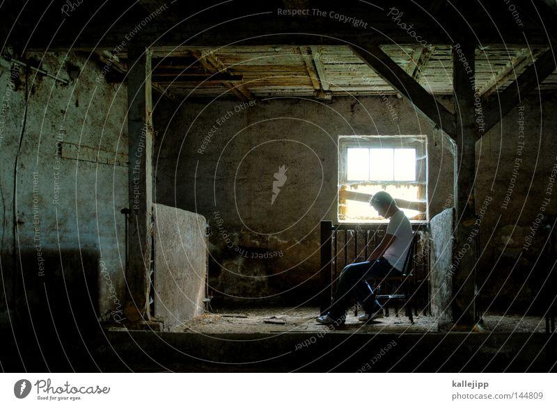 michel aus l. Kammer Raum Örtlichkeit Stall kalt Bauernhof Hof Mann Mensch Licht Grabkammer Höhle Justizvollzugsanstalt Angelrute Einzelhaft Fotolabor Öffnung