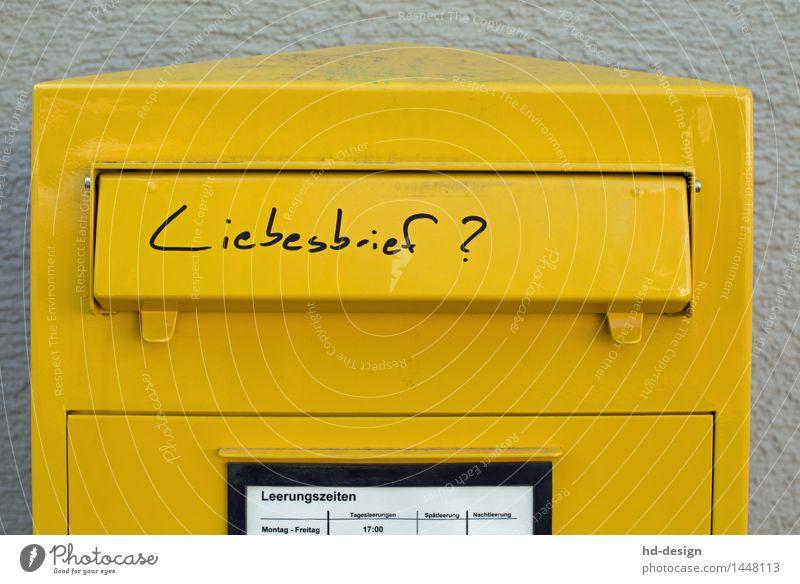 Liebesbrief Briefkasten Liebeserklärung Freundschaft Post Partnerschaft schreiben senden gelb Metall Glück Lebensfreude Sympathie Verliebtheit Liebesaffäre