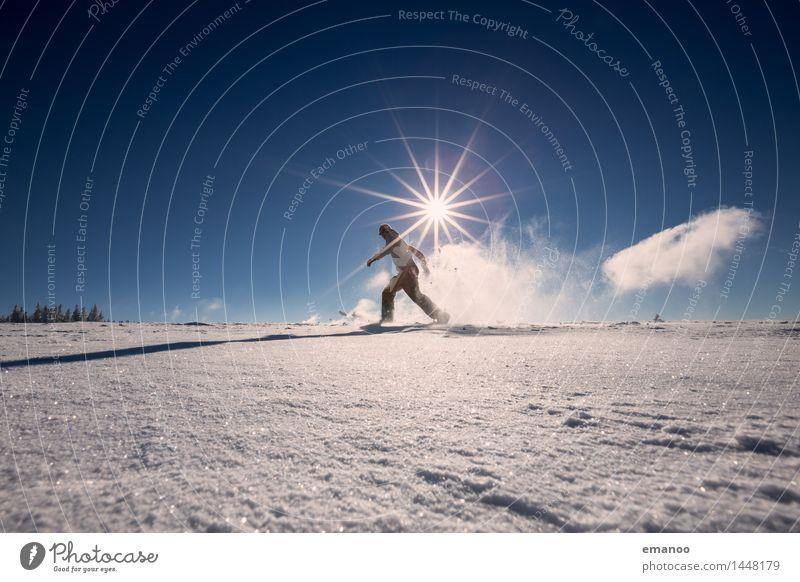 snowrunner Mensch Himmel Ferien & Urlaub & Reisen Mann Freude Winter kalt Berge u. Gebirge Erwachsene Leben Schnee Lifestyle Freiheit Tourismus Eis Körper