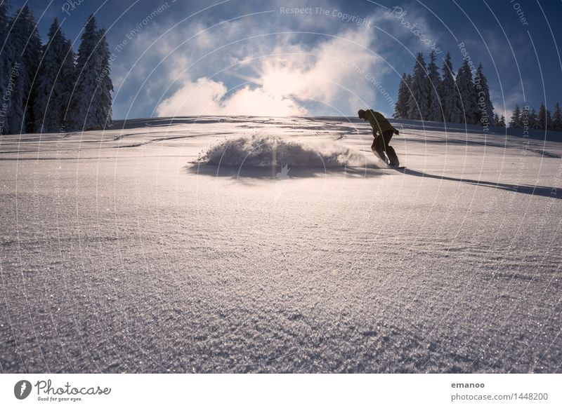 powder turn Lifestyle Stil Freude Ferien & Urlaub & Reisen Freiheit Winter Schnee Winterurlaub Berge u. Gebirge Sport Wintersport Snowboard Skipiste Mensch Mann