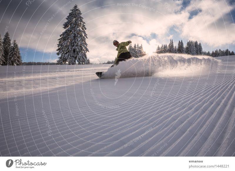 Schneebremser Mensch Ferien & Urlaub & Reisen Mann Freude Winter Wald kalt Erwachsene Schnee Stil Sport Lifestyle Linie frisch Kraft fahren