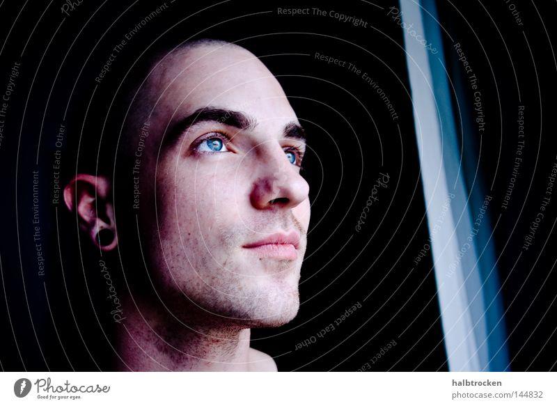 View inside Mann schön blau Gesicht Auge dunkel Porträt Frieden Gesichtsausdruck