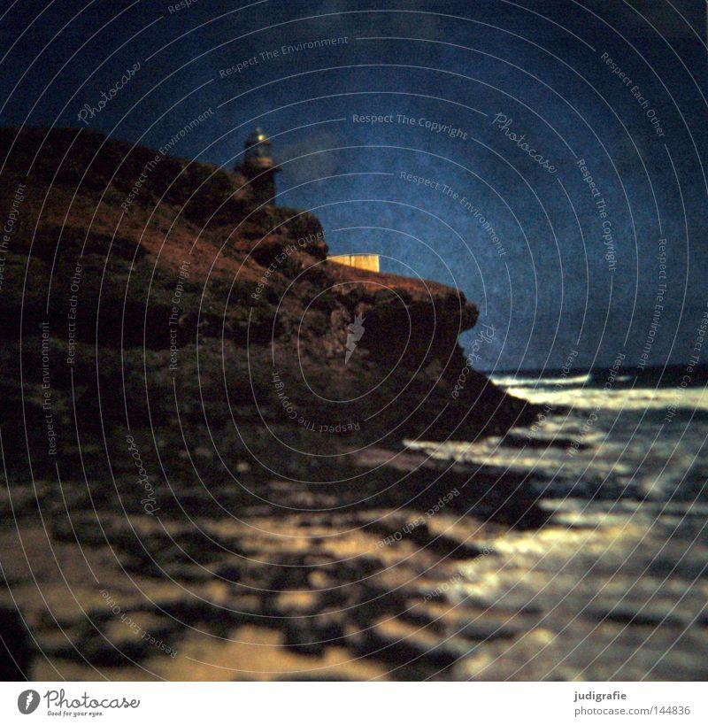 Rücksicht/Durchsicht Dia Experiment Licht Leuchtturm Seezeichen Gebäude Mauer Meer Küste Schifffahrt Himmel Vulkaninsel Fuerteventura Atlantik Wasser Gischt