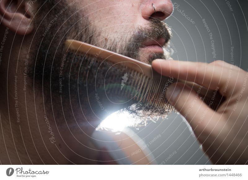 Vollbart kämmen Mensch Jugendliche schön Junger Mann Gesicht Erwachsene Leben Haare & Frisuren maskulin Behaarung Körper Sauberkeit Reinigen Körperpflege Bart