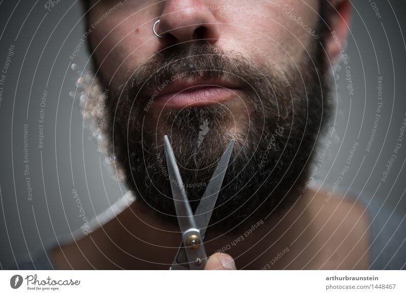 Bart abschneiden Mensch Jugendliche Mann schön Junger Mann Gesicht Erwachsene Leben Haare & Frisuren maskulin Behaarung Sauberkeit Körperpflege brünett