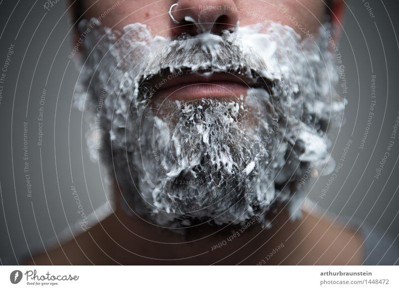 Mann vorm rasieren Mensch Jugendliche schön Junger Mann Gesicht Erwachsene Haare & Frisuren maskulin Behaarung authentisch stehen Coolness Körperpflege Bart