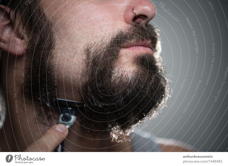 Vollbart rasieren Mensch Jugendliche Mann schön Junger Mann Gesicht Erwachsene Haare & Frisuren maskulin Behaarung Reinigen Bad Körperpflege Bart brünett