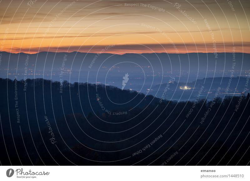 sunset valley Himmel Natur Ferien & Urlaub & Reisen Landschaft Wolken Haus Ferne dunkel Wald Berge u. Gebirge Umwelt Herbst Freiheit Horizont Wetter Nebel