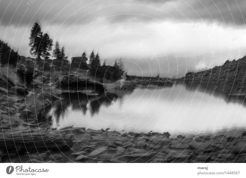 Spiegelsee ohne Dachstein Natur Wolken dunkel kalt Traurigkeit außergewöhnlich See Angst bedrohlich Trauer gruselig trashig Verzweiflung Enttäuschung
