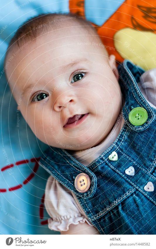 Babyglück Mensch schön Freude Leben feminin lachen Glück liegen Zufriedenheit leuchten Kindheit Fröhlichkeit Lächeln Lebensfreude niedlich