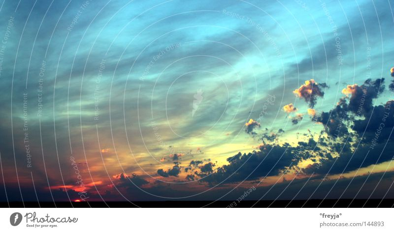 big wild world Himmel blau rot Wolken Sonnenuntergang Dänemark Himmelskörper & Weltall Abendsonne Rømø