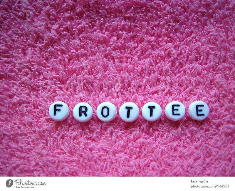 FROTTEE weiß schwarz rosa Schriftzeichen Buchstaben Stoff obskur Perle Wort Material Schlaufe