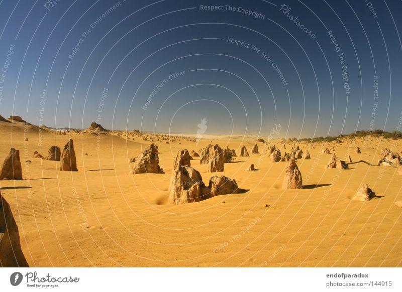 ___--__---_----x Australien West Australien Stein Pinnacles Himmel Sand orange blau Sandsturm Nationalpark Ausflug Rausch Ferien & Urlaub & Reisen Erde
