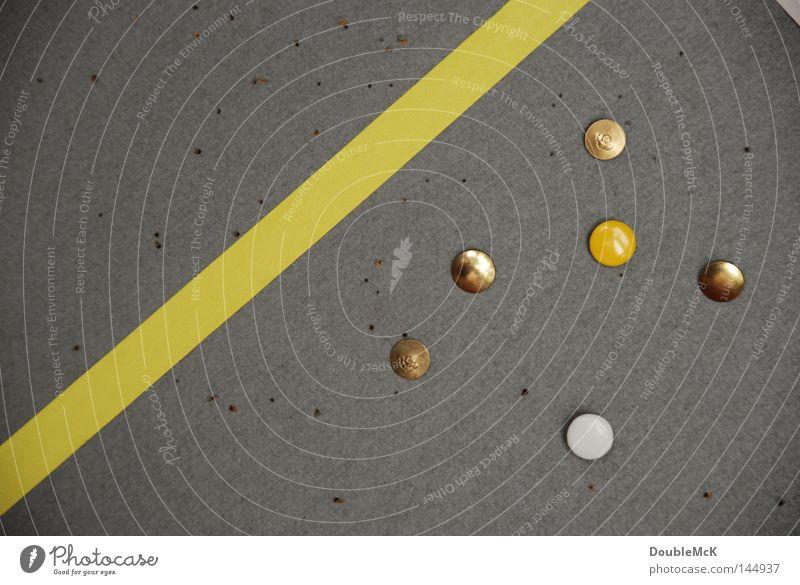 Punkt, Punkt, Strich weiß Farbe gelb grau klein Metall Linie Ordnung Studium Metallwaren rund Idee Information Teilung diagonal
