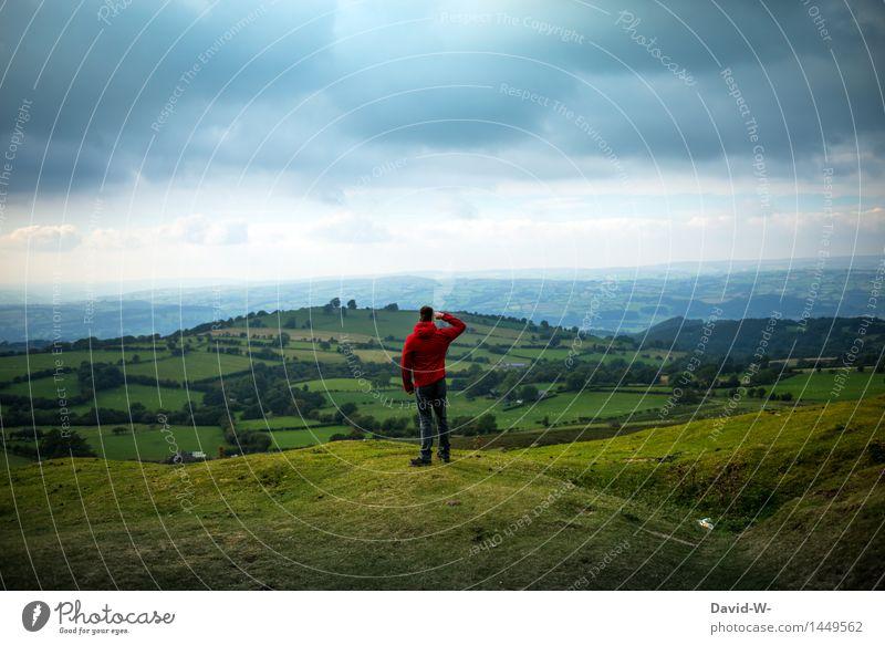 Hier ist die Welt noch in Ordnung Mensch Natur Ferien & Urlaub & Reisen Jugendliche Mann Junger Mann Landschaft ruhig Ferne Berge u. Gebirge Erwachsene Umwelt