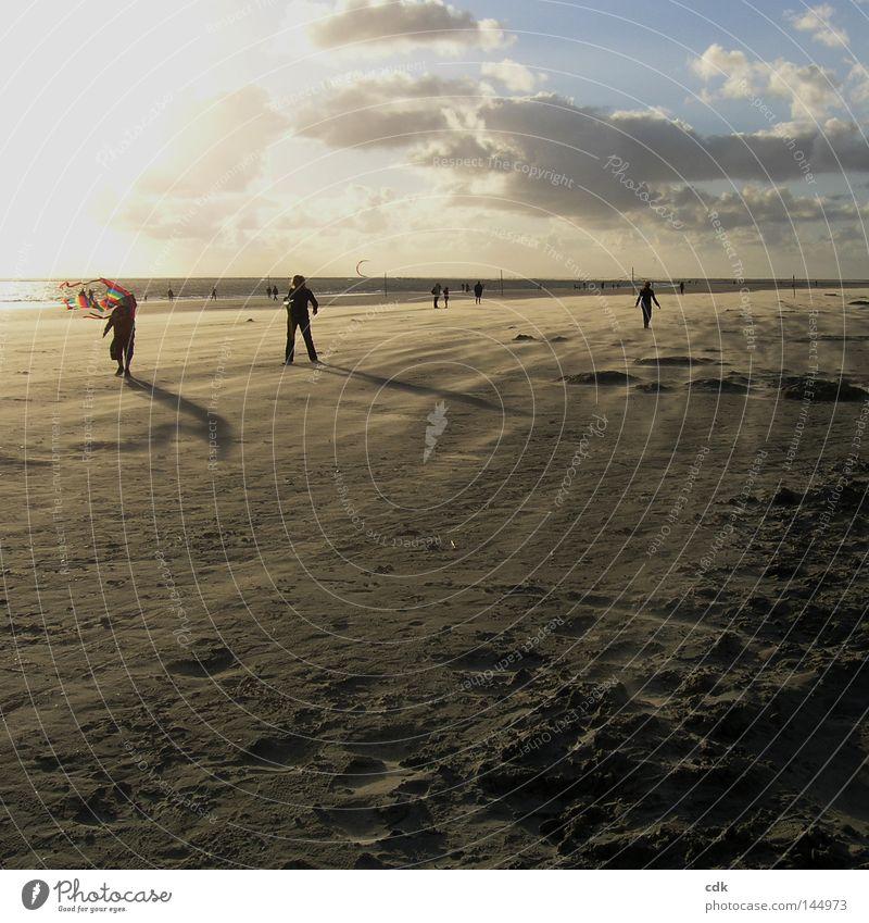Schatten werfen Strand Strandleben Meer Ferien & Urlaub & Reisen Silhouette Abenddämmerung Licht Luft Horizont Sommer Sonnenuntergang Sandverwehung Wolken flach