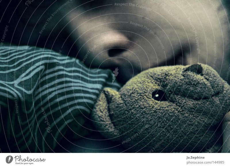 good night, sleep tight. Mensch Mann Erholung Gesicht Erwachsene dunkel träumen schlafen Müdigkeit Erschöpfung Kissen Spielzeug Kuscheln Teddybär Stofftiere