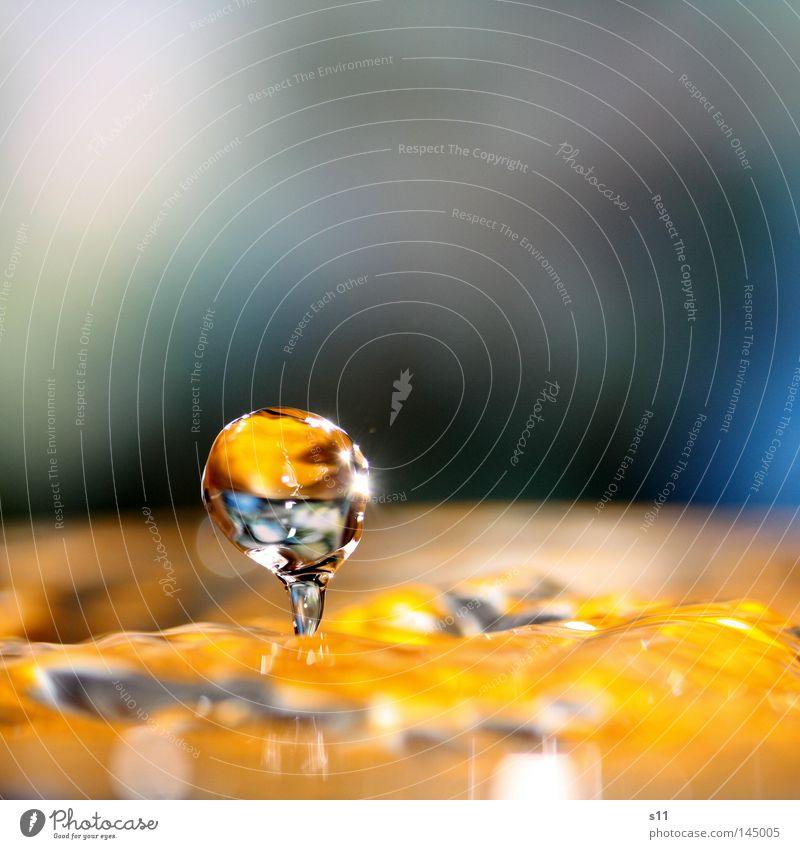 Glanz und Gloria Wasser blau Farbe Lampe springen hell orange Wellen glänzend Wassertropfen nass trinken Tropfen Flüssigkeit spritzen Durst