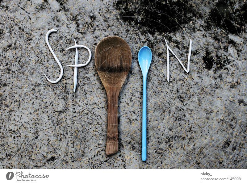 spoon Löffel braun türkis grau schwarz FIMO Esslöffel Besteck Gabel Gastronomie Bodenbelag blau Grafik u. Illustration Ernährung löffelchen Tee fork knife