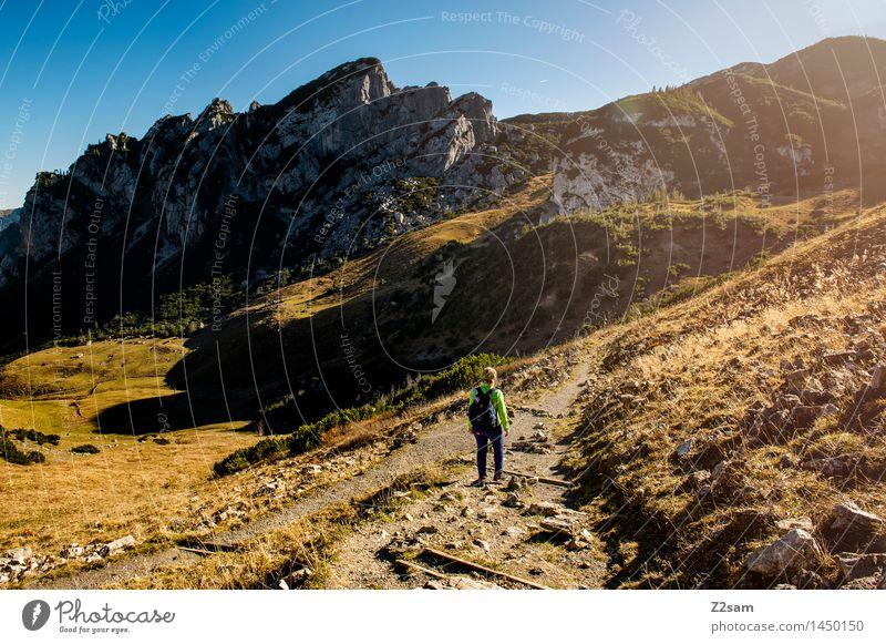 Rotwand Lifestyle elegant Stil Freizeit & Hobby wandern feminin Junge 18-30 Jahre Jugendliche Erwachsene Natur Landschaft Sonne Herbst Schönes Wetter Wiese