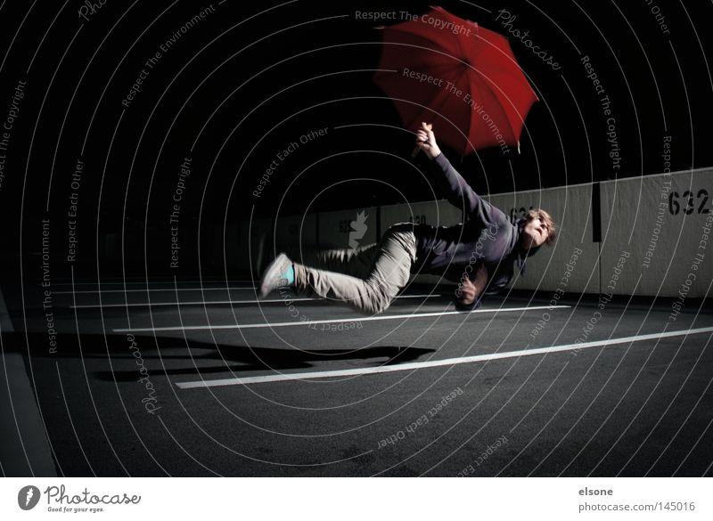 ::LOST:IN:SPACE::I Mensch Mann rot dunkel Spielen Freizeit & Hobby Regenschirm Sonnenschirm Schweben Schirm Schwerelosigkeit