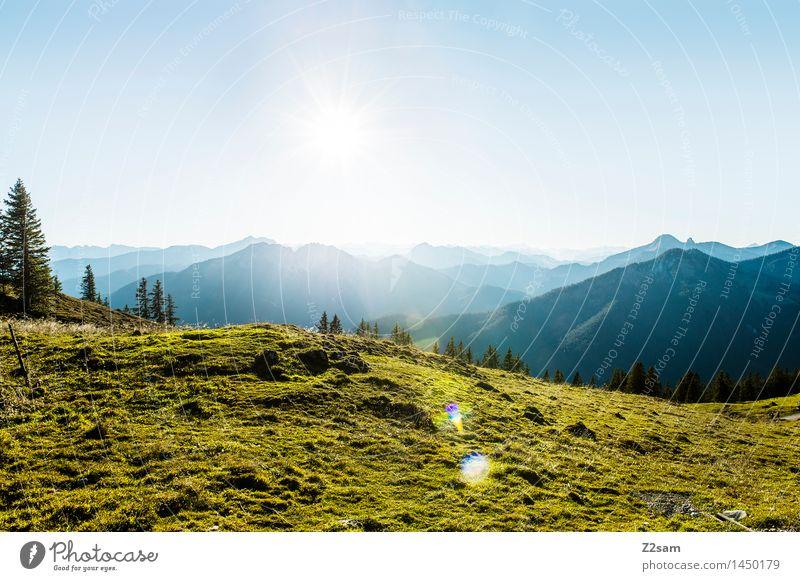 Rotwand Freizeit & Hobby wandern Umwelt Natur Landschaft Himmel Sonnenlicht Schönes Wetter Wiese Alpen Berge u. Gebirge Gipfel frisch natürlich blau grün