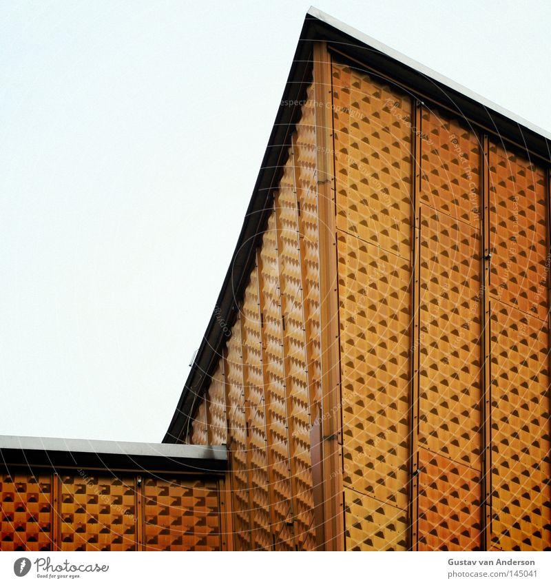 Harmonie I Haus gelb Berlin Wand Gebäude Metall Kunst Haut Design gold Fassade modern Kultur Konzert Quadrat