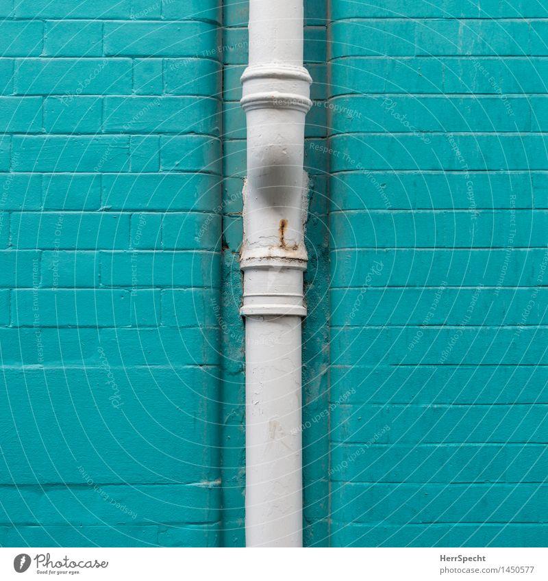 Fallrohr in Türkis London Stadtzentrum Bauwerk Gebäude Mauer Wand Fassade Dachrinne türkis weiß Wasserrohr Backsteinwand Backsteinfassade gemauert Farbe