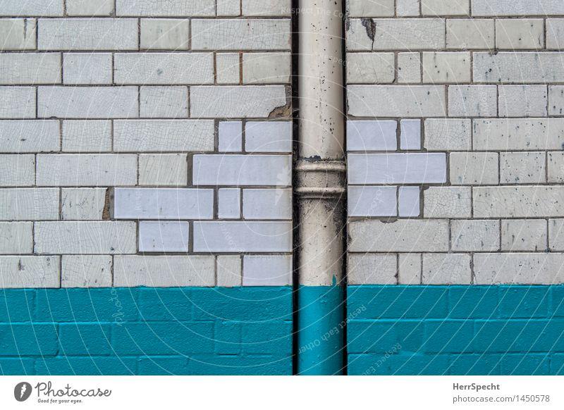 Ausbesserung London Haus Bauwerk Gebäude Mauer Wand Fassade Dachrinne alt retro Stadt türkis weiß Hintergrundbild fliegen Renovieren Reparatur Platzhalter