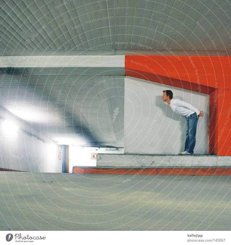 hexenschuss Mensch Mann blau weiß grün rot Freude Straße Wand Bewegung Wege & Pfade springen Mauer hell Linie Beleuchtung