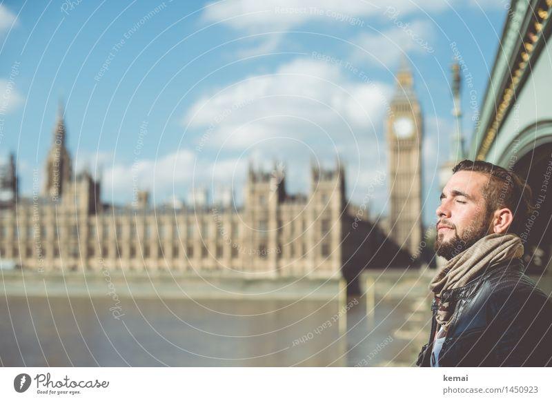 Sonne tanken Mensch Ferien & Urlaub & Reisen Jugendliche schön Erholung Junger Mann ruhig 18-30 Jahre Gesicht Erwachsene Leben Glück Freiheit Kopf maskulin