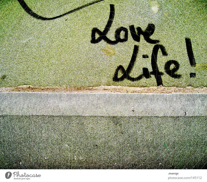 I love it Lifestyle Leben Mauer Wand Schriftzeichen Graffiti Liebe grün Freude Glück Fröhlichkeit Zufriedenheit Lebensfreude Frühlingsgefühle Euphorie