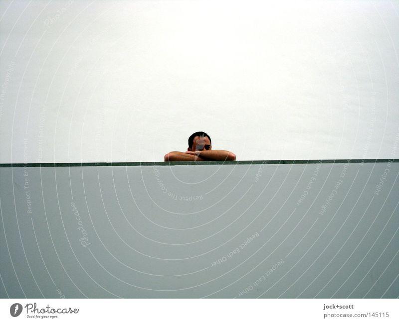 Mmh Mmh Mmh Mmh Mann weiß Einsamkeit Erwachsene Wand Traurigkeit Mauer grau Kopf Linie Hintergrundbild modern Beton lang Grenze Verzweiflung