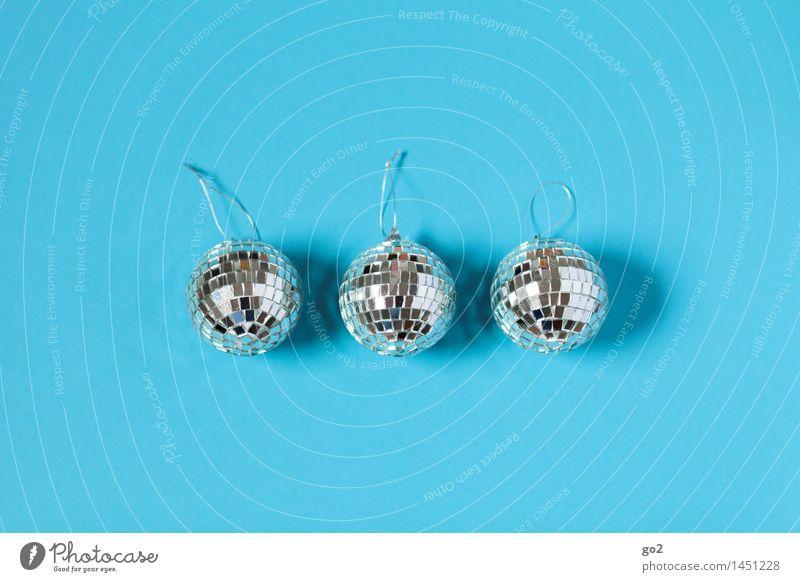 Drei Discokugeln auf einem Bild blau Lifestyle Feste & Feiern Party Dekoration & Verzierung Musik Geburtstag ästhetisch Show Veranstaltung Silvester u. Neujahr
