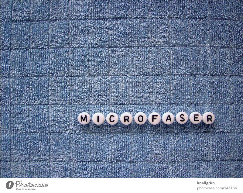 MICROFASER Wort Buchstaben Dinge blau weiß schwarz rund Putztuch Stoff obskur Schriftzeichen Letter Perle Microfaser