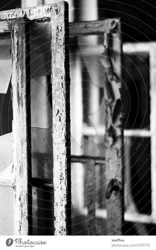 windows vista alt Einsamkeit Haus Fenster Holz Glas Rücken kaputt Industrie verfallen gebrochen Putz Rahmen schäbig Fensterscheibe Lack