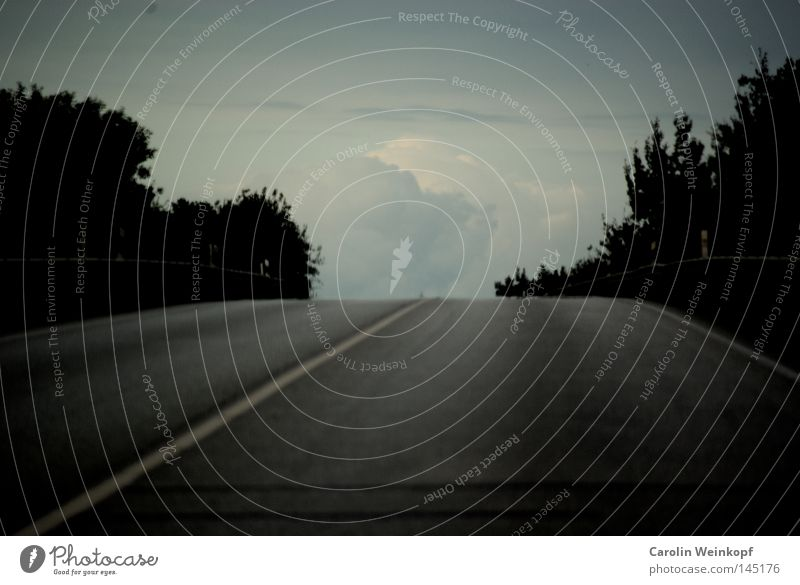 A long way home. Baum Wolken Berge u. Gebirge Straßenverkehr Verkehr Sträucher Asphalt Streifen Hügel Gipfel Verkehrswege Empfehlung Heimweh Kuppeldach