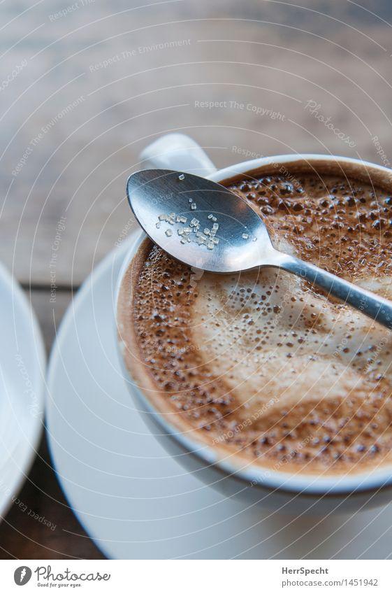 Zuckerlöffel Getränk Heißgetränk Kaffee Tasse Lifestyle Wohlgefühl Erholung Häusliches Leben Restaurant heiß lecker braun Untertasse Café Cappuccino Milchkaffee
