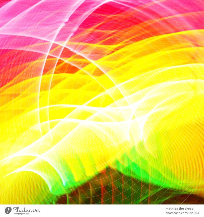 600 + 3 Farbe mehrfarbig grün gelb rot rosa Kreis Ring Licht Geometrie Strukturen & Formen Am Rand Linie Punkt weiß hell unklar Unschärfe Verzerrung verzogen